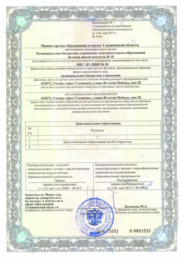 приложение 1 к лицензии от 18.05.2015г.